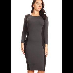 Plus Size Color Block Midi Dress in Black/Charcoal